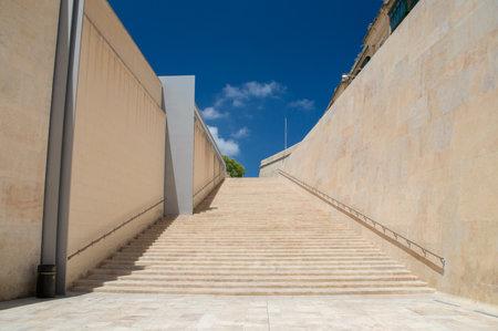 Valletta, Malta - May 9, 2017: Stairs near Valletta City Gate.
