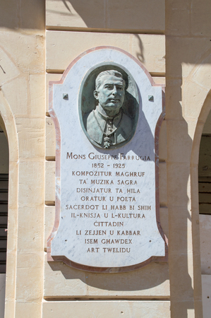 Gozo Island, Malta - May 8, 2017: Memorial to memorize Giuseppe Farrugia.