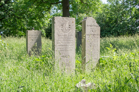headstones: Gdansk, Poland - June 14, 2017: Old graves in the Jewish Cemetery of Gdansk. Editorial