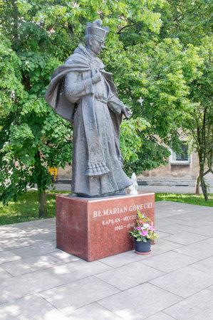 Gdansk, Poland - June 14, 2017: Monument of Polish Roman Catholic priest Marian Gorecki in New Port, Gdansk. Editorial