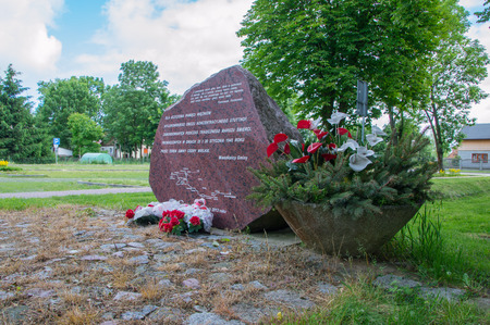 Cedars Wielkie, Poland - June 17, 2017: Monument to the memorial of Stuthoff who died during the Death March in 24 and 25 january 1945 in Cedry Wielkie. Editorial