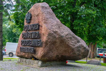 Gdansk, Poland - June 27, 2017: Monument of Polish Underground State and Home Army at Old Town of Gdansk.