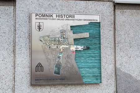 Gdynia, Poland - August 20, 2017: Historical monument for modernist urban layout of Gdynia downtown.