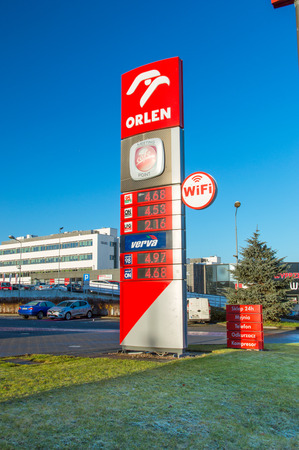 Gdansk, Poland - December 2, 2017: Price board on Orlen gas station.