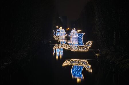 gdansk poland december 5 2017 winter christmas ships illumination at night in