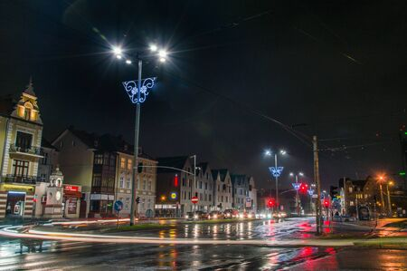 Gdansk, Poland - December 5, 2017: Crossroad at Gdansk Oliwa at night in christmas time. Editorial