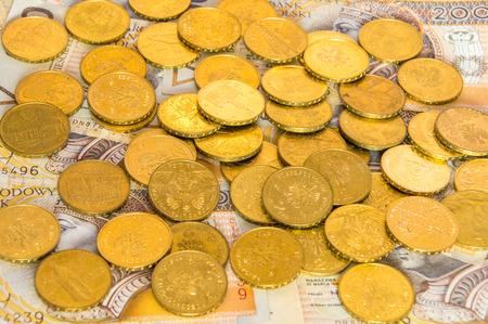 Viele Goldene Münzen Auf 200 Zloty Banknoten Polnische 2 Pln Und 5