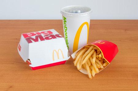 Pruszcz Gdanski, Poland - January 5, 2018: McDonald's Big Mac menu with French Fries and Coca-Cola for drink.