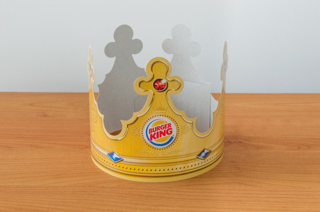 Pruszcz Gdanski, Poland - January 19, 2018: Peper crown with Burger King logo.