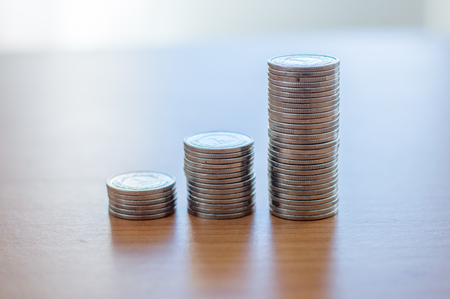 Rows of 1 zloty coins. Stock Photo