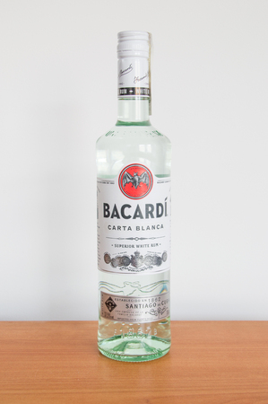 Pruszcz Gdanski, Poland - March 30, 2018: 70 cl Bacardi Carta Blanca Rum bottle. Editorial