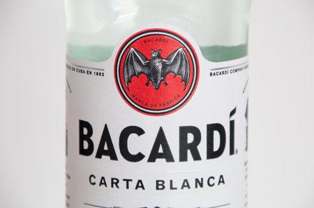 Pruszcz Gdanski, Poland - March 30, 2018: Close-up for the logo of Bacardi at the Bacardi Carta Blanca Rum bottle.
