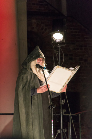 Gdansk, Poland - March 30, 2018: Lector at night Passion Play in Gdansk. Editorial