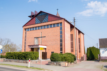 Gniewoszow, Poland - April 12, 2018: Church of the Immaculate Heart of Mary in Gniewosz
