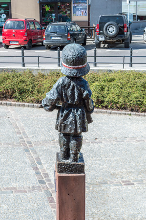 Warsaw, Poland - April 20, 2018: Back of Little Insurrectionist statue for communist soldiers who died during the Warsaw Uprising of 1944. Sajtókép