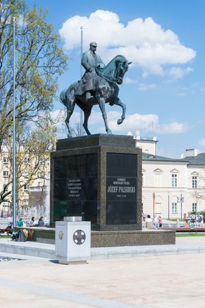 Lublin, Poland - April 14, 2018: Monument of Polish statesman Marshal Jozef Pilsudski on the horse at Lithuanian Square in Lublin. Editorial