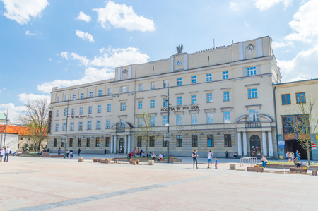 Lublin, Poland - April 14, 2018: Post office at the Lithuanian Square in Lublin.