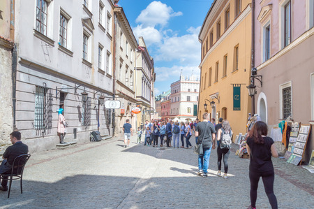Lublin, Poland - April 14, 2018: Bramowa street in the old town of Lublin.