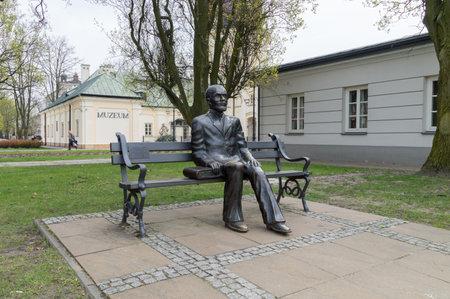 Siedlce, Poland - April 16, 2018: Stefan Zeromski bench monument. Stefan Zeromski is Polish writer nominated to the Nobel Prize in Literature. Editorial