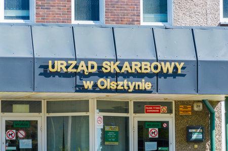 Olsztyn, Poland - May 1, 2018: Sign of the Tax Office in Olsztyn.
