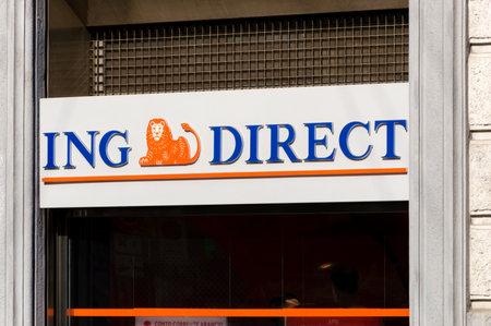 Milan, Italy - May 29, 2018: ING Direct logo and sign office in Milan.