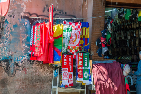 Marrakesh, Morocco - June 3, 2018: Football cheering scarf for sell on street market.
