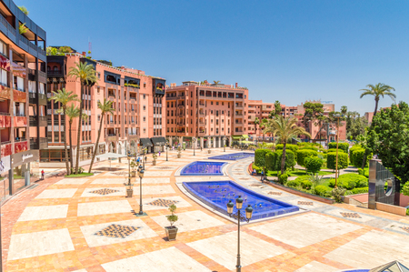 Marrakech, Morocco - June 3, 2018: View for square with fountains at Jardin 16 Novembre.