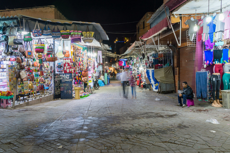 Marrakech, Morocco - June 5, 2018: Souq of Marrakesh at night.
