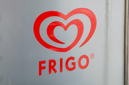 Barcelona, Spain - June 7, 2018: Logo of Frigo. Frigo is brand of ice cream made by Unilever. Redactioneel