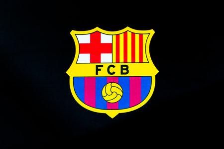 Barcelona, Spain - June 7, 2018: Futbol Club Barcelona logo on black background.