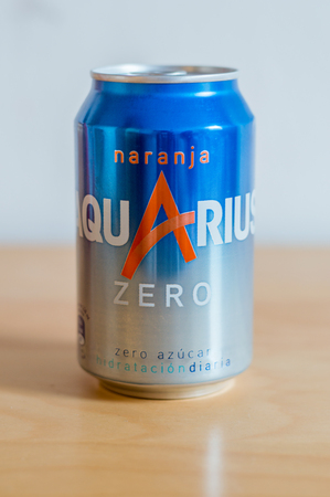 Barcelona, Spain - June 7, 2018: Can of Aquarius Naranja zero azucar.