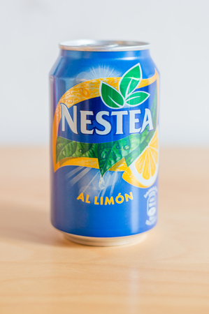 Barcelona, Spain - June 7, 2018: Can of Nestea Brand. Lemon iced tea. Editorial