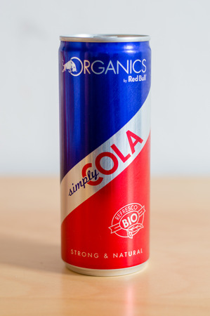 Barcelona, Spain - June 7, 2018: Can of Organics Red Bull simply cola. Editorial