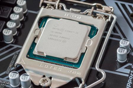 Pruszcz Gdanski, Poland - June 13, 2018: Intel i5 8500 Processor on PC motherboard.