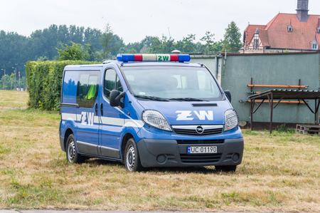 Pruszcz Gdanski, Poland - June 16, 2018: Opel Vivaro belong to Military Gendarmerie (Zandarmeria Wojskowa) in Poland.