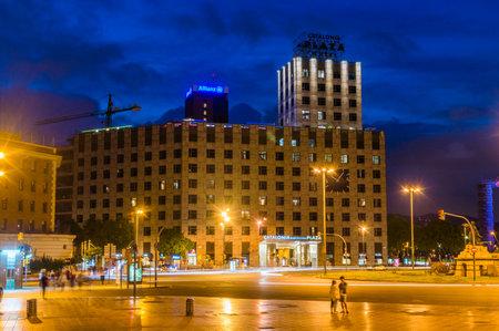 Barcelona, Spain - June 6, 2018: Night view of Catalonia Barcelona Plaza hotel.