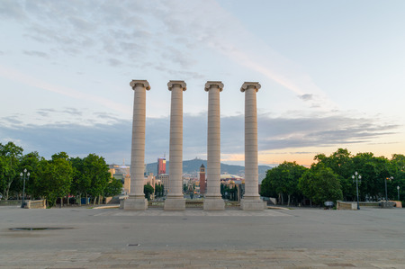 Barcelona, Spain - June 9, 2018: The Four Columns at sunrise time.