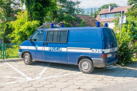 Krynica Morska, Poland - July 15, 2018: Volkswagen Transporter of Polish police.