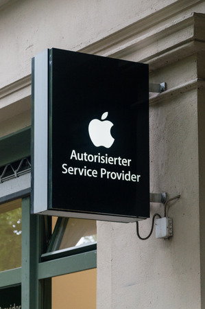 Berlin, Germany - August 15, 2018: Commercial sign of Apple Authorised Service Provider.