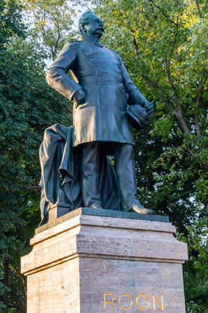 Berlin, Germany - August 16, 2018: Statue of Albrecht Graf von Roon in Tiergarten, Berlin, Germany. Editorial