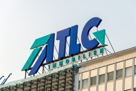 Berlin, Germany - August 17, 2018: Logo and sign of TLG Immobilien.