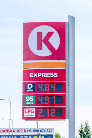 Gniezno, Poland - August 19, 2018: Price is per liter in Polish Zloty at Circle K Express gas station. Editorial