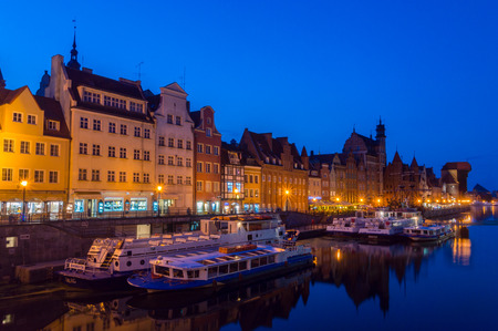 Gdansk, Poland - August 28, 2018: Old Town of Gdansk with Motlawa river at dusk. Editöryel