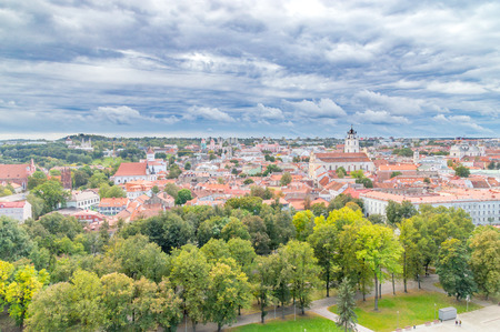 Panoramic view of Vilnius from Gediminas hill in Lithuania.