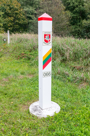 Lithuanian Territorial sign. Border post on the border between Poland and Lithuania.