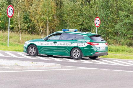 Holny Mejera, Poland - September 28, 2018: Car of Polish Customs and Treasury Service on the Polish and Lithuanian border.