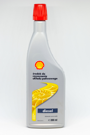 Pruszcz Gdanski, Poland - November 14, 2018: Shell additives cleaning the fuel system. Can of 500 ml Diesel-Additives on white background.