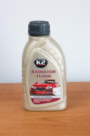 Pruszcz Gdanski, Poland - December 8, 2018: K2 radiator flush for clean car radiator. Fluid that removes sediments and impurities in car cooling system. Redakční