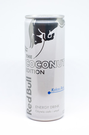 Pruszcz Gdanski, Poland - December 8, 2018: Red Bull The Coconut Edition. Coconut-acai flavoured drink. Editorial