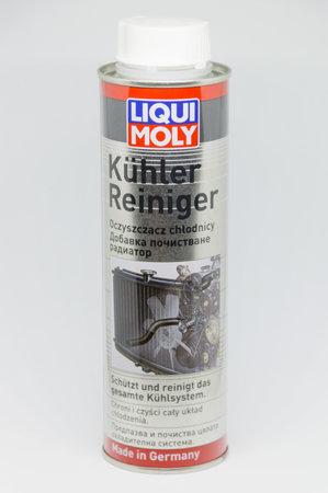 Pruszcz Gdanski, Poland - December 14, 2018: 300 ml of Liqui Moly Kuhler reiniger (radiator flush) for clean car radiator. Fluid that removes sediments and impurities in car cooling system. Redakční